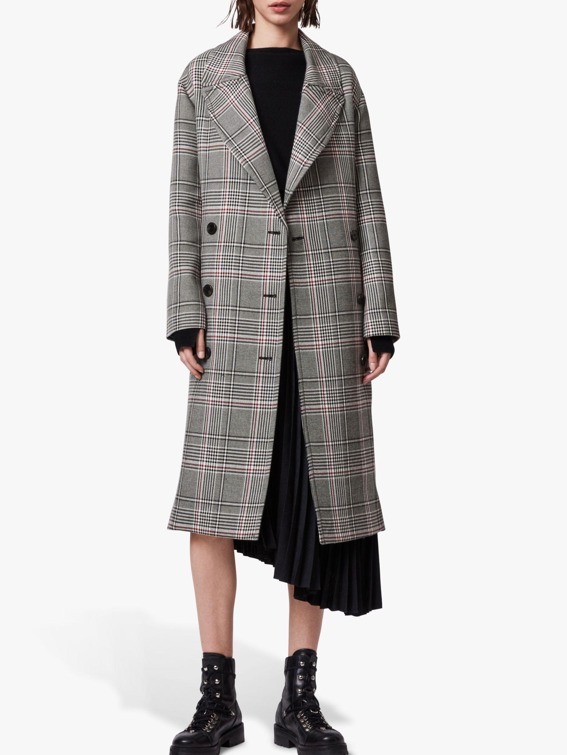 AllSaints AllSaints Tyla Check Trench Coat, Black/White