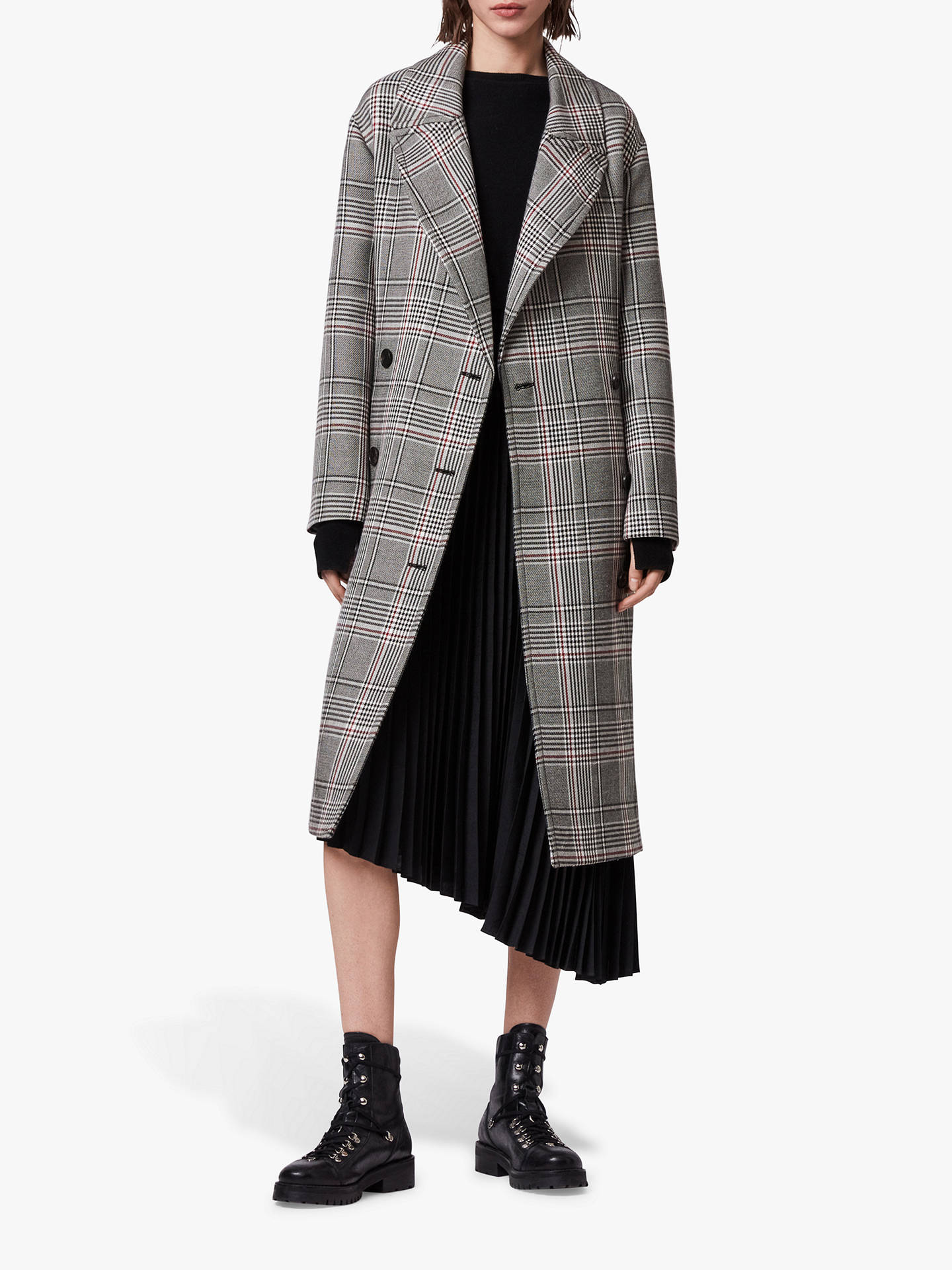 Buy AllSaints Tyla Check Trench Coat, Black/White, XS Online at johnlewis.com