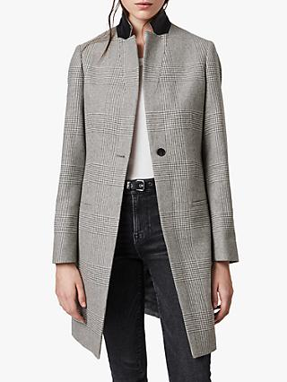AllSaints Leni Check Coat, Light Grey/Ecru