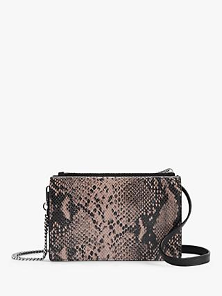 AllSaints Fetch Leather Chain Snake Cross Body Bag, Pink/Multi