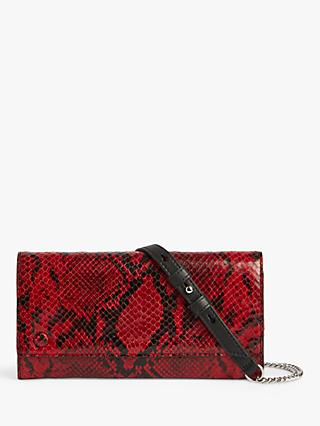 AllSaints Darlina Leather Chain Purse, Red
