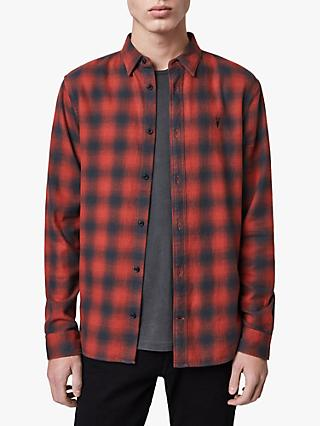 AllSaints Catalpa Check Flannel Shirt, Oxide Red