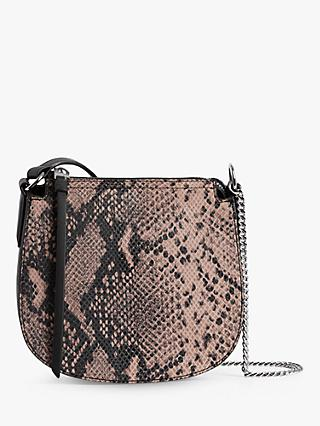 AllSaints Ely Small Leather Snake Cross Body Bag, Pink/Multi