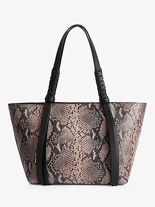 AllSaints Kepi Small East West Leather Snake Tote Bag, Pink/Multi