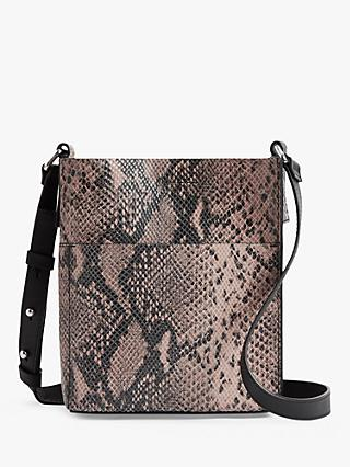 AllSaints Adelina North South Small Leather Snake Tote Bag, Snake Pink