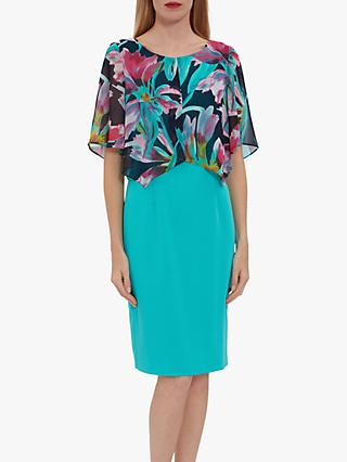 Gina Bacconi Emily Chiffon Cape Crepe Dress, Sea Green