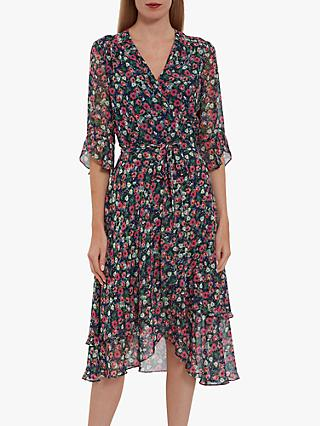Gina Bacconi Lerina Floral Chiffon Dress, Navy/Multi