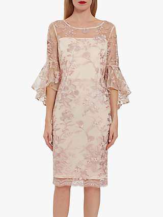 Gina Bacconi Graciana Floral Embroidery Crepe Dress, Nude Pink