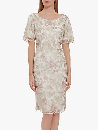 Gina Bacconi Coletta Embroidered Shift Dress, Beige/Pink
