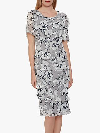 Gina Bacconi Dianora Floral Chiffon Dress, Grey