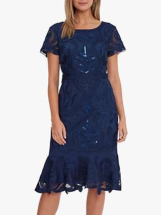 Gina Bacconi Liori Embroidered Shift Dress, Navy