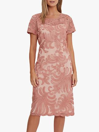 Gina Bacconi Loreena Embroidered Shift Dress, Coral