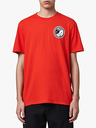 AllSaints Lunarat Crew T-Shirt, Poppy Red