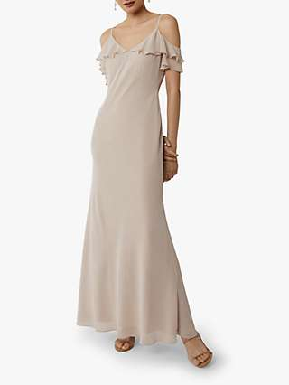 Warehouse Cold Shoulder Bridesmaid Dress, Mink