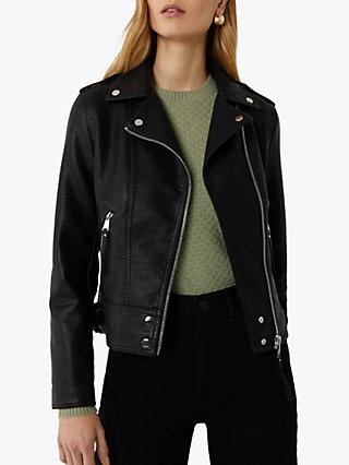 Warehouse Faux Leather Biker Jacket, Black