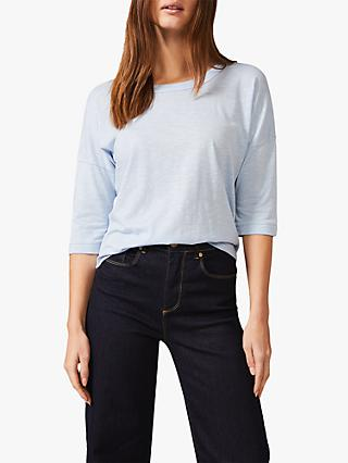 Phase Eight Stitch Scoop Neck Top, Soft Blue