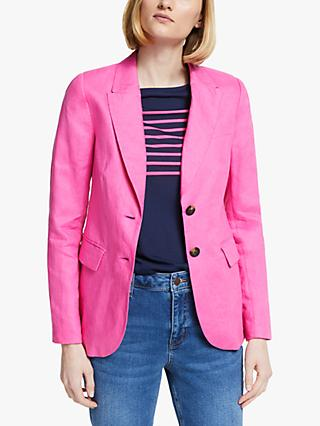 Boden Carrington Linen Blazer, Pop Pansy