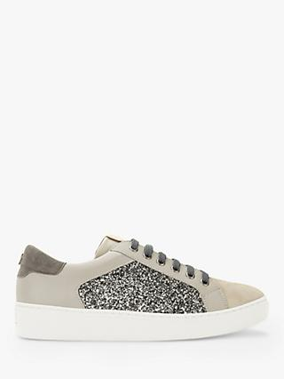 Mint Velvet Chloe Glitter Suede Lace Up Trainers, Mink