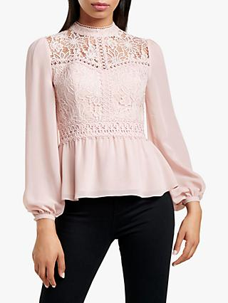 Forever New Petra Lace Blouse, Pensive Pink