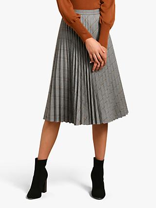 Forever New Audrey Pleat Skirt, Grey/Wine Check