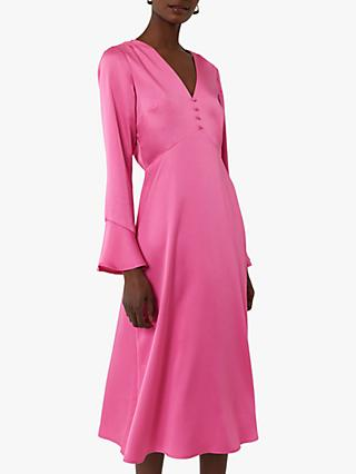 Warehouse Satin Button Front Midi Dress, Bright Pink