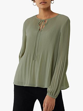Warehouse Micro Pleat Tie Neck Top