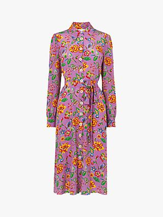 L.K.Bennett Runa 1940s Floral Print Silk Dress, Purple
