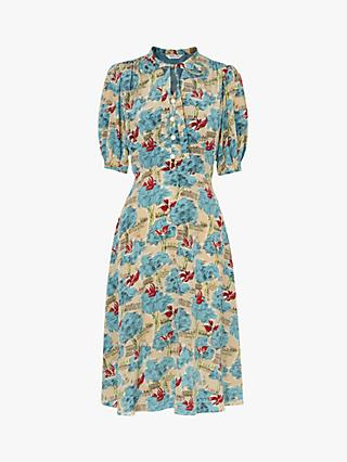L.K.Bennett Marceau Tuileries Print Silk Dress, Pale Blue