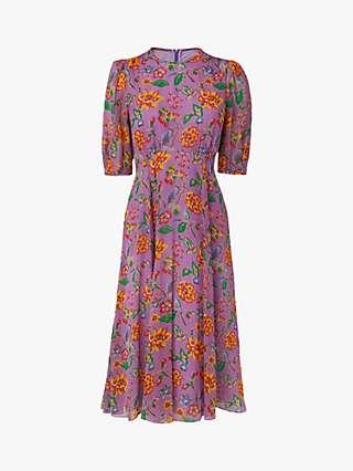 L.K.Bennett Garland 1940s Floral Print Silk Dress, Purple