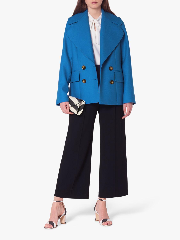 L.K.Bennett L.K.Bennett Jacob Wool Blend Pea Coat, Electric Blue