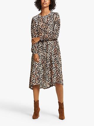 AND/OR Elena Blurred Leopard Print Dress, Multi