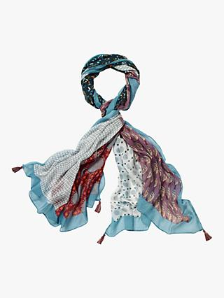 White Stuff Margot Printed Scarf, Seawash Blue