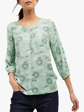 White Stuff Dawn Weather Shirt, Dusted Green Print