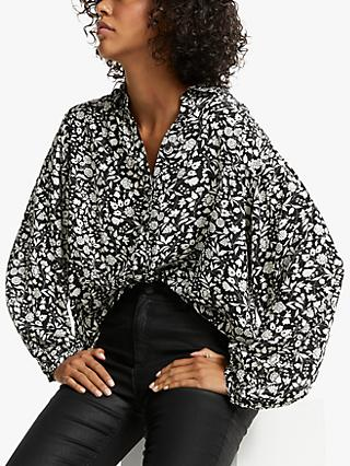 AND/OR Mabel Floral Shirt, Black/White