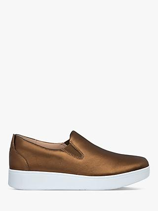 FitFlop Sania Leather Flatform Slip On Trainers, Bronze