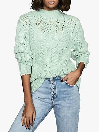 Reiss Amber Open Knit Jumper, Green