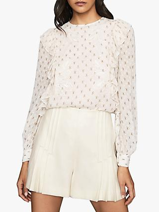 Reiss Alice Floral Print Ruffle Blouse, Cream