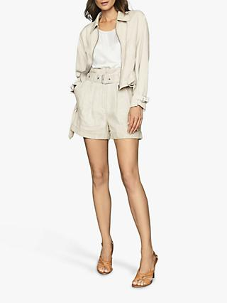 Reiss Sia Front Zip Jacket, Stone
