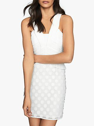 Reiss Georgia Jacquard Spot Mini Dress, White