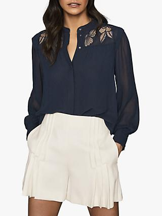 Reiss Emily Lace Detail Semi Sheer Blouse, Navy