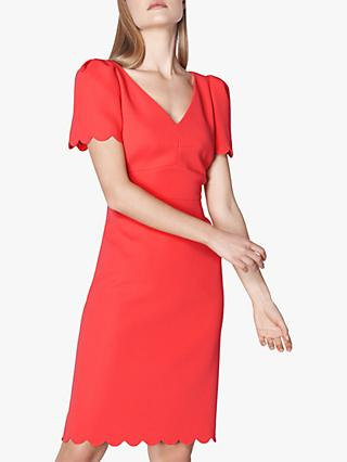 L.K.Bennett Enid Scallop Edge Shift Dress, Geranium