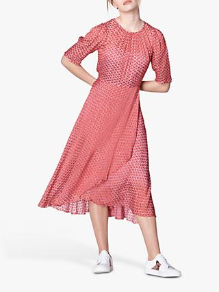 L.K.Bennett Gainsbury Silk Devoré Dress, Red