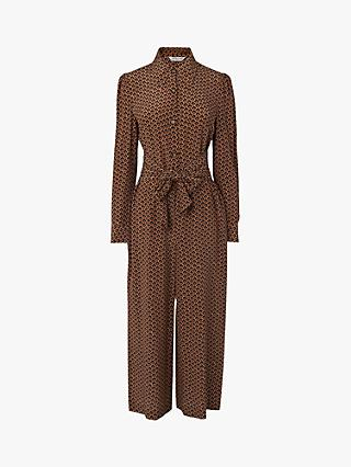 L.K.Bennett Stockbridge Block Print Silk Jumpsuit, Camel
