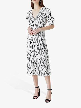 Finery Olney Abstract Line Print Midi Dress, Black/Ivory