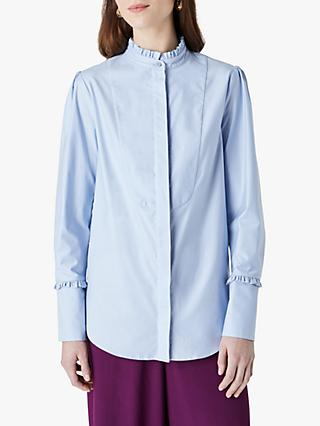 Finery Ayden Cotton Frill Detail Blouse, Light Blue