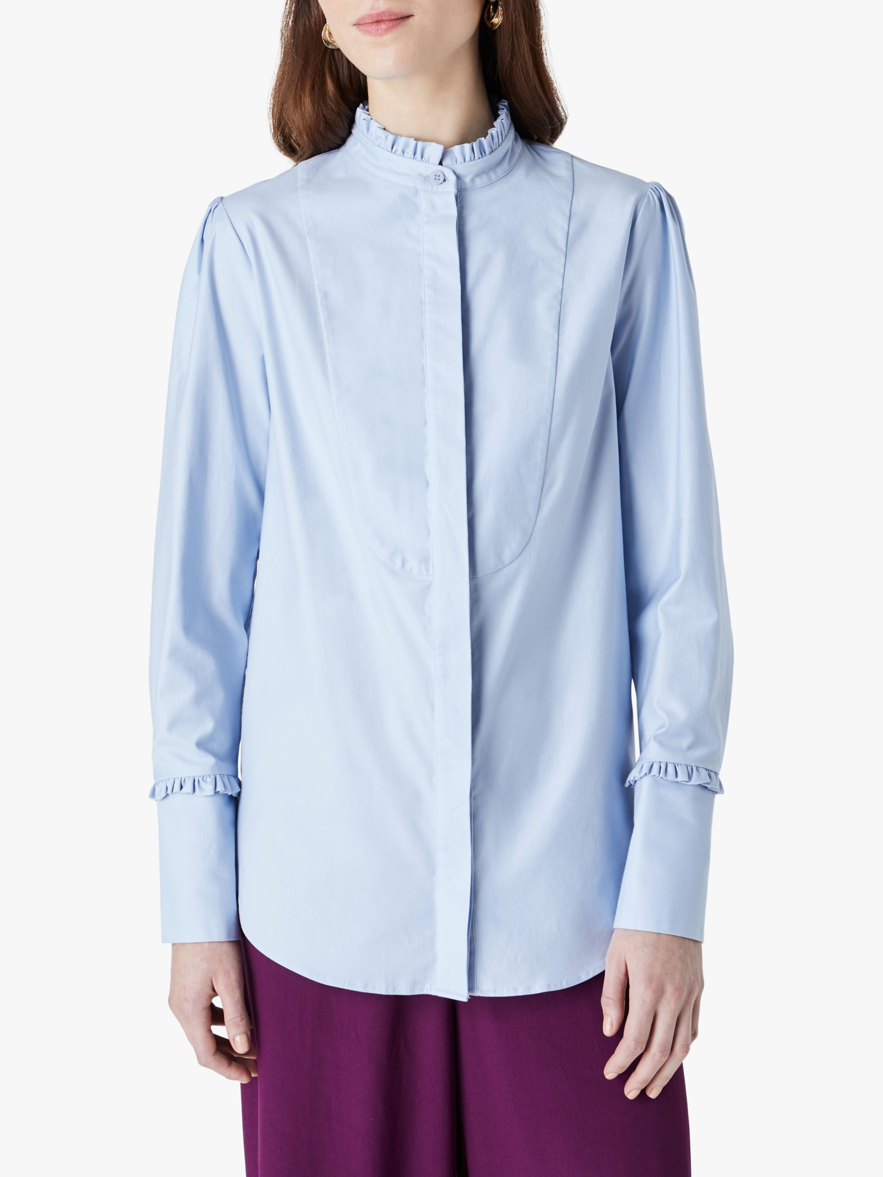 Finery Finery Ayden Cotton Frill Detail Blouse, Light Blue