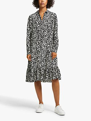 AND/OR Ida Floral Shirt Dress, Black/White