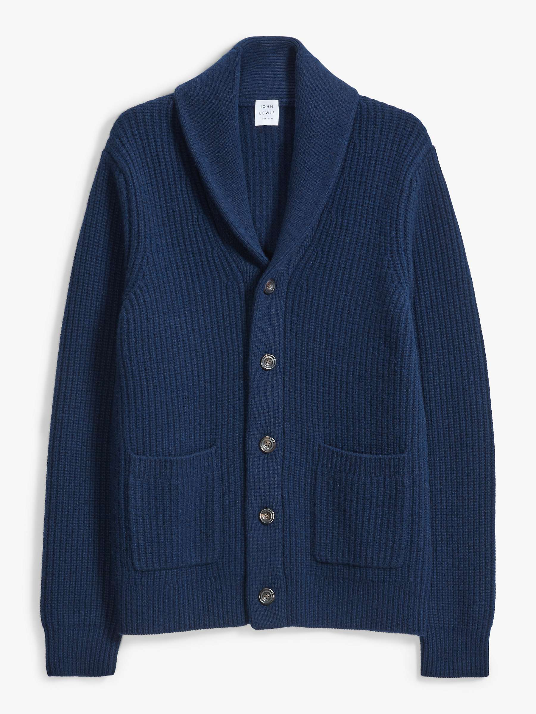 John Lewis & Partners Wool Cashmere Shawl Collar Cardigan, Navy