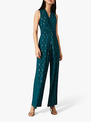 Phase Eight Tia Sleeveless Jumpsuit, Jade/Gold