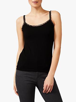 Phase Eight Sequin Trim Camisole Top, Black
